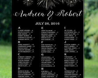 Printable Wedding Seating Chart, White Fireworks Wedding Seating Chart, Alphabetical Seating Chart, Modern Wedding Seating Chart Printable