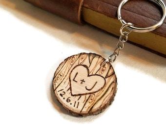 custom keychain, couples keychain, wood burned keychain, wood initials keychain, gift for girlfriend, gift for boyfriend, couples gift