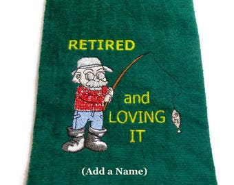 Fishing towel, Retirement gift,  for Fishermen,  embroidered towel, gift for fisherman, personalize with name, customize it, gift for him