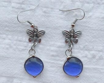 Handmade Murano, Glass Earrings, Stained Glass Technique, Violete Earrings