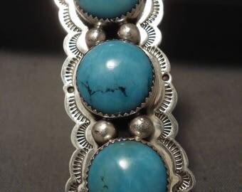 Towering Vintage Navajo 'Fat Snake Eye Turquoise' Silver Ring