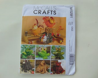 McCall's Crafts M5291 Animal Sewing Caddies Chicken, Bear Frog Sewing Pattern UNCUT