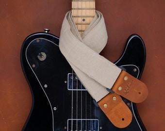 Beige Denim Guitar Strap