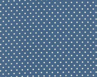 Moda Bread and Butter Fabric-Royal Blue Dots-American Jane #21697-20
