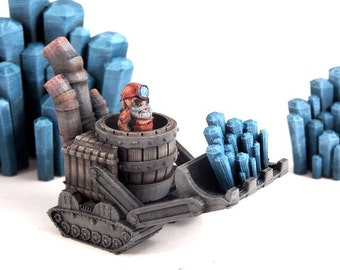 28MM TableTop Gaming (Gnome in a Bull Dozer) 3d printed miniature, Perfect for Dungeons and Dragons, Warhammer, Pocket Tactics, Malifaux