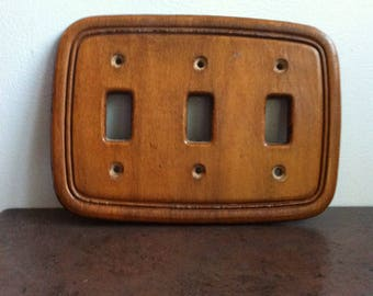 Vintage Switch Cover - Triple Outlet Plate - Wooden Electrical Wall PLate - Country Chic Decor