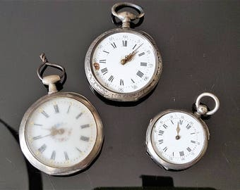 3 old chiseled silver cboitier pocket watch to restore - 20768