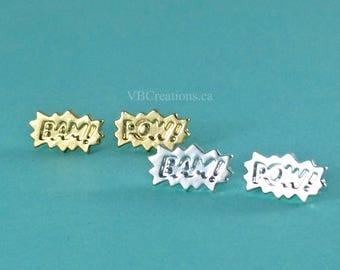 Comic Book Earrings - BAM POW - Words Jewelry - Super Heros - Batman - Silver - Gold - Dainty Earrings - Gift Ideas - Sister Gift - Friend