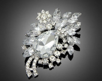 Crystal Clear Flower Bling Rhinestone Silver Brooch Pin Wedding Bridal Bouquet DIY Jewelry (TDK-W1174)