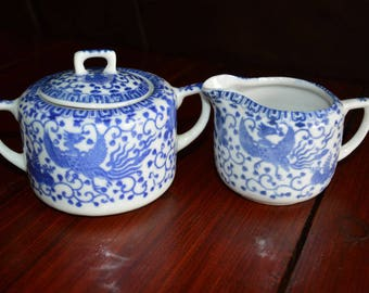Blue and White Flying Phoenix Flying Turkey Creamer and Sugar Bowl Made in Japan
