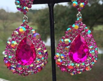 Fuchsia Earrings | 202-7 | Fuchsia Chunky Earrings | Hot Pink Earrings | Fuchsia Pageant Earrings| Fuchsia Prom Earrings