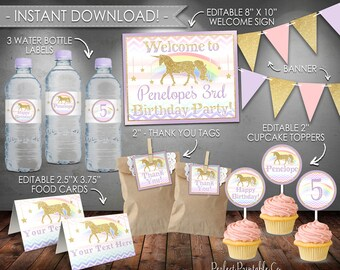 Unicorn Party Pack Package, Unicorn Party Kit, Unicorn Birthday Bundle, Purple and Gold, Printable, Instant Download, Editable PDF File #486