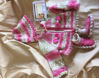 Hand knitted baby girl jacket, hat and bootees