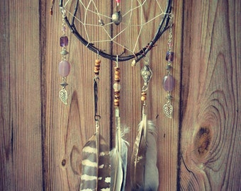 Ethnic Natural wooden Dreamcatcher Hippie Bohemian Feathers Tribal Native Gipsy Beads