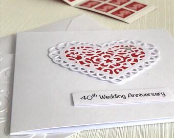 40th Wedding Anniversary Card - Ruby Wedding Anniversary - 40th Anniversary Card - Handmade Greeting Card - Fortieth Anniversary Card