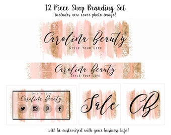 WATERCOLOR BRUSH STROKES Branding Package Cover Photo Premade Etsy Shop Banner Minimalist Logo Business Card Peach & Rose Gold Paint Strokes