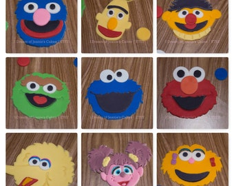 Sesame Street Character Fondant Faces, Birthday Cake, Baby Shower Cake