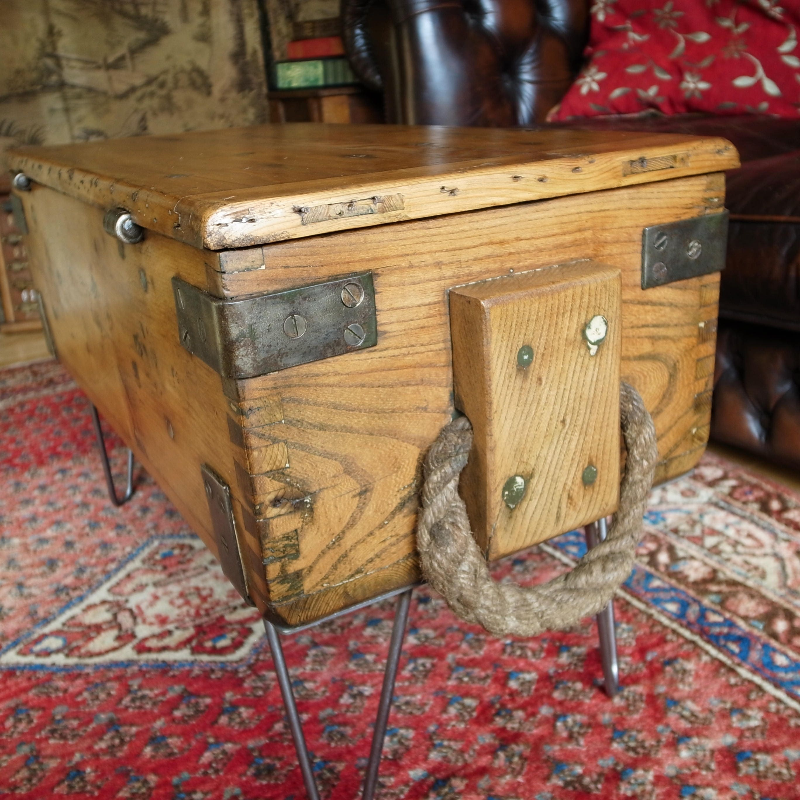 Industrial Tv Stand And Coffee Table: INDUSTRIAL COFFEE TABLE Vintage Military Chest Reclaimed
