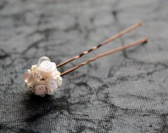 Bridal hair pin, Bridal hairpiece, Wedding hair pin, Wedding hair accessory, Sphere hair pin, Ivory hairpin, Floral hairpiece