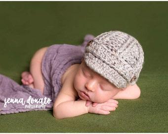 Baby Newsboy Cap, Baby Boy Photo Prop, Crochet Newsboy Cap, Newsboy Hat, Newborn Boy Hat, Boys Newsboy Hat, Baby Shower Gift, MADE 2 ORDER