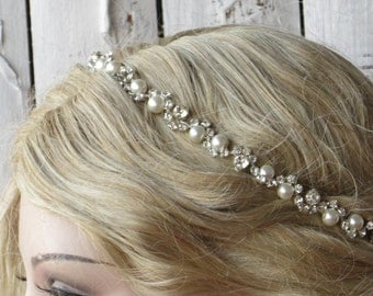 Wedding Headband, Pearl and crystal bridal hairpiece, Rhinestone wedding  headpiece, Swarovski pearl headpiece, bridal headnand