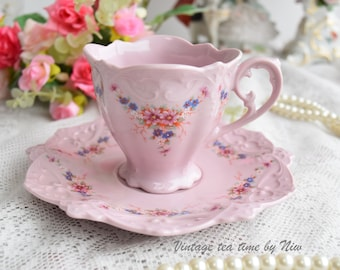 Vintage tea cup set flower porcelain Slavic porcelain pink hand painted set HC tea cups rose porcelain vintage teaset vintage cup saucer