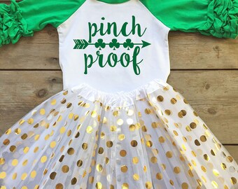 St Patricks Day Outfit for Girl - Girls St Patricks Day Outfit - St Patricks Day Raglan Shirt - St Patricks Day Pinch Proof Shirt for Girls