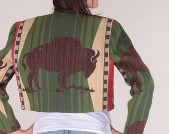 Southwestern Jacket, Buffalo, Aztec Tribal Jacket, Soft Boho Blazer, Orange, Green, Western, Cowboy, Patterns, Wraps, Big Button - 170123