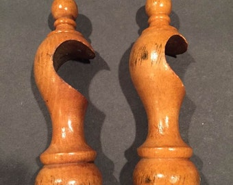 Vintage Wood Curtain Rod Holder Pair