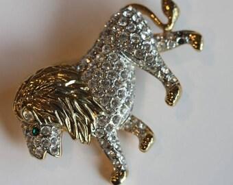 Gold tone clear rhinestone lion pin brooch large