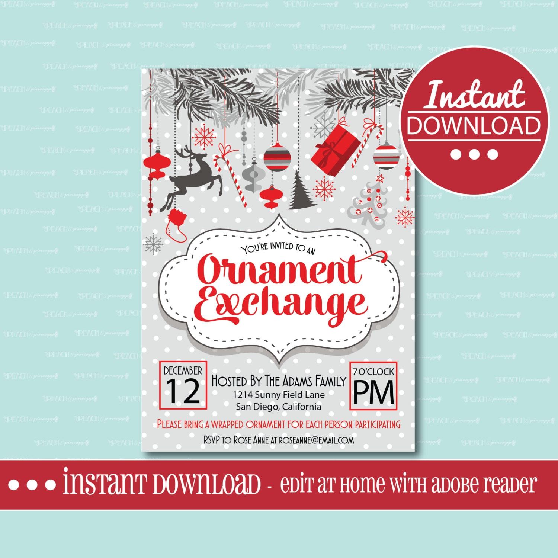 CHRISTMAS PARTY INVITATION Editable Printable Ornament