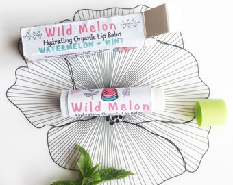 Wild Melon- Hydrating Organic/Natural Lip Balm in Box- Organic Beeswax & Organic Cocoa Butter, Coconut oil, Sweet Almond Oil - Chapstick