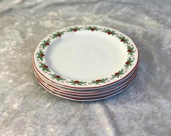 "4 Porsgrund Hearts and Pines 8"" salad plates vintage"