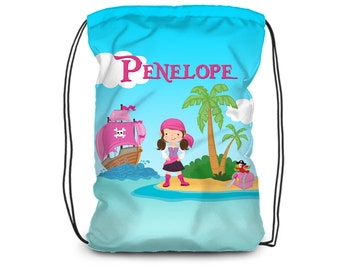 Personalized Pirate Drawstring Backpack - Desert Island Pirate Cinch Sack, Pink Pirate Backpack Bag, You Pick Girl - Kid Personalized Gift