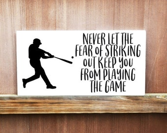 Motivational Sign, Never Let The Fear Of Striking Quote, Baseball Quote, Gift For Baseball Player, Boys Room Decor, Baseball Room Decor