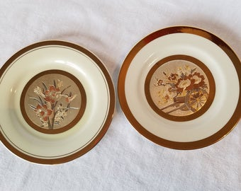 "THE ART of CHOKIN 24kt gold edged Ivory Cream Silver Copper Plates 6"" Flower Cart Hummingbird Daffodils Japan  Vintage"