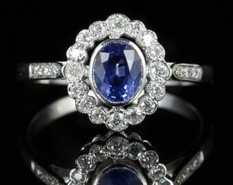 Antique Edwardian Sapphire Diamond Ring 18ct White Gold