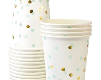 Cups   Mint Green & Gold Confetti Paper Cups 9 oz   12 Premium Quality Paper Cups   Party Cups   Party Supplies   The Party Darling