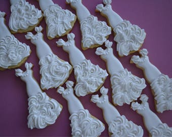 One Dozen Bridal Dress Wedding Sugar Cookies