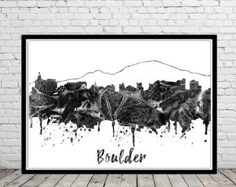 Boulder, Boulder skyline, Boulder Colorado, Office Art,  Colorado, watercolor Boulder, watercolor City Print (3042b)