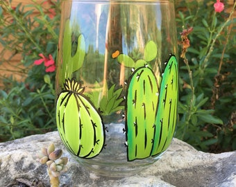 Cactus Wine Glass Hand Painted