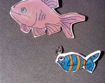 Two Little Fishies Art Pin Set