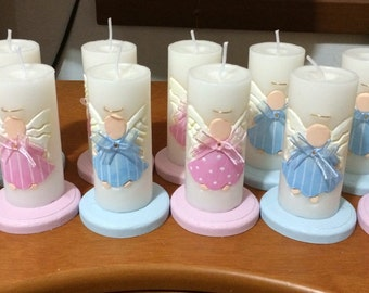 Candle favor baby shower christening hand carved X 6 Candles