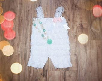 Lace romper,baby girl romper  White Romper Set. Lace  Romper , headband and romper, Baby Girl Photo Prop
