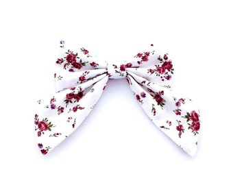 Floral Sailor Bow, Antique White and Ruby Red, Sailor Bow, Flattering Herringbone