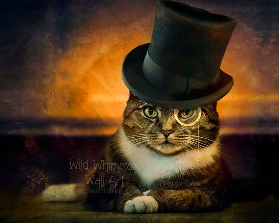 Cat Art Print Top Hat Monocle Funny Cat Cat In Top