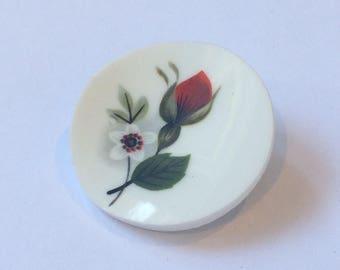 Red rosebud upcycled china brooch pin