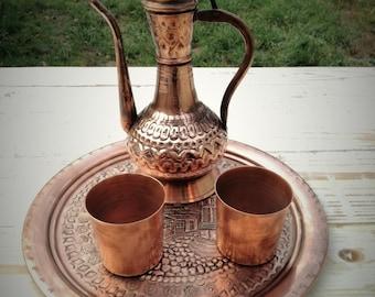 Handmade Turkish Copper Coffee Tea Pot Pitcher Set