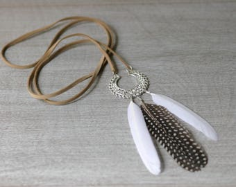 Boho Feather Pendant Necklace / Silver / Suede Cord / 21""