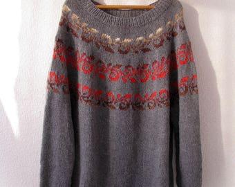 Oversized handknit sweater Lopapeysa Wool sweater Plus size sweater XXL sweate  Icelandic Sweater Norwegian sweater women